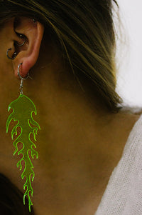 Green Neon Flame Drop Earrings