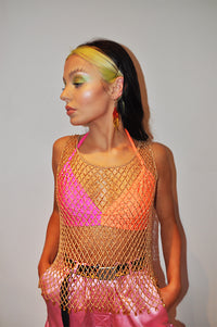 Golden Sunset Crochet Bead Vest