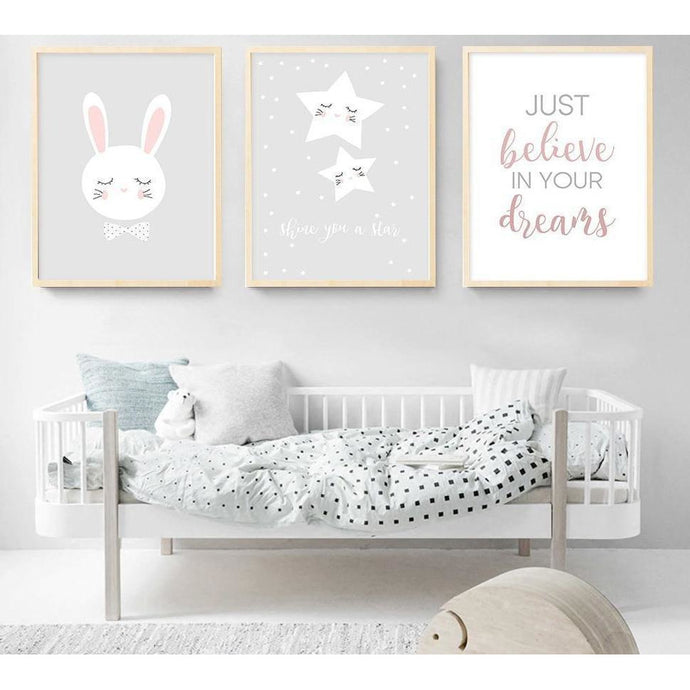 Star Rabbit Cartoon Wall Art Canvas Poster Nursery Quote Prints Nordic Style Painting Wall Picture Children Bedroom Decoration lcbenshop