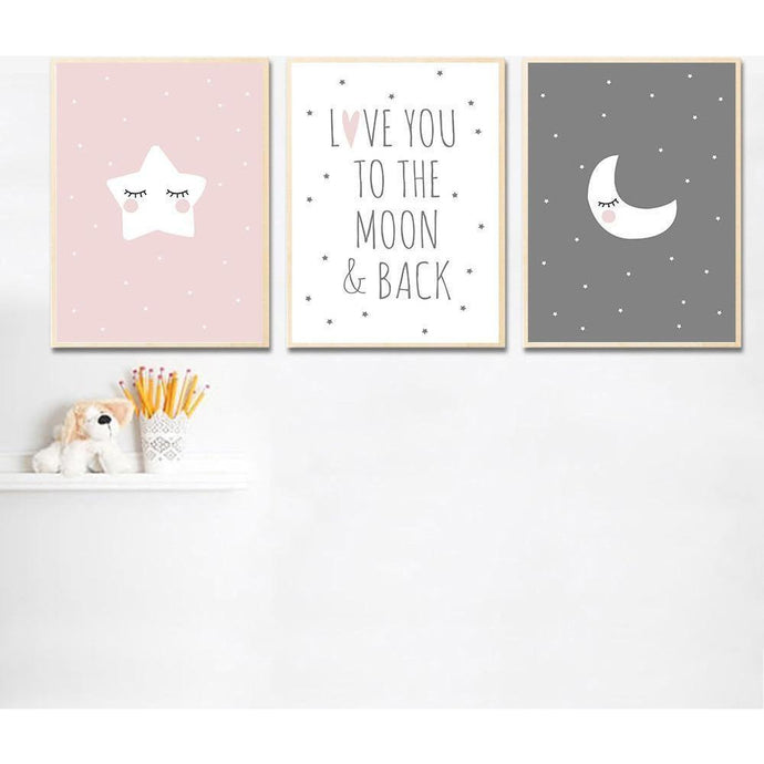 Cute Moon Star Baby Nursery Wall Art Canvas Posters Prints Cartoon Painting Nordic Kids Decoration Picture Baby Bedroom Decor lcbenshop