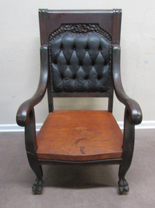 ANTIQUE 1800'S JACOBEAN STYLE BLACK WALNUT CHAIR