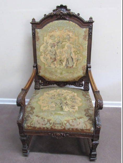 ANTIQUE JACOBEAN STYLE NEEDLEPOINT TAPESTRY CHAIR