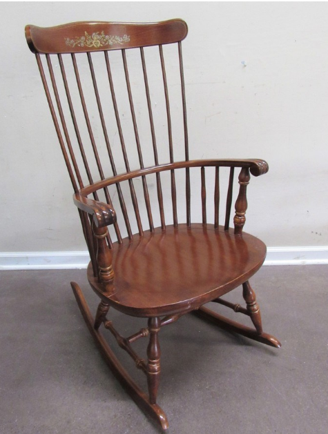 CHERRY FINISHED COMB-BACK WINDSOR ROCKING CHAIR (mid-Century)