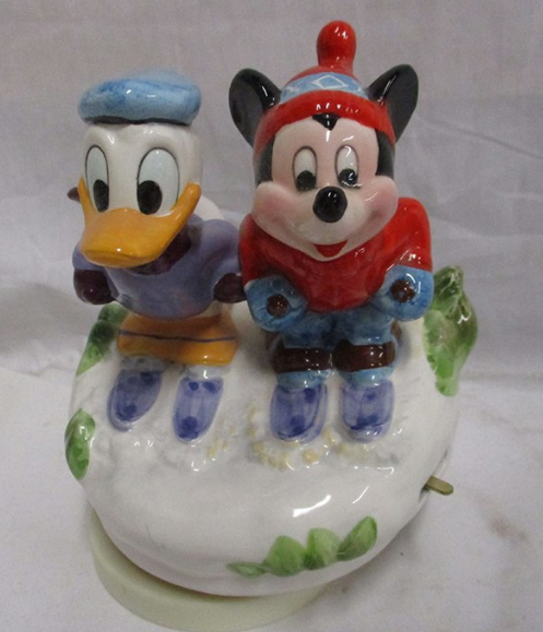 "Schmid Mickey and Donald Music Box, Made in Japan, ""Snow Biz"" Numbered Limited Edition ""Let it Snow"""