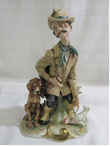 "LARGE GIUSEPPE CAPPE CAPODIMONTE Titled "" THE REPROACHFUL HUNTER """