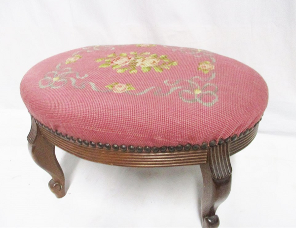Antique Vintage NEEDLEPOINT FOOT STOOL Early 1900's