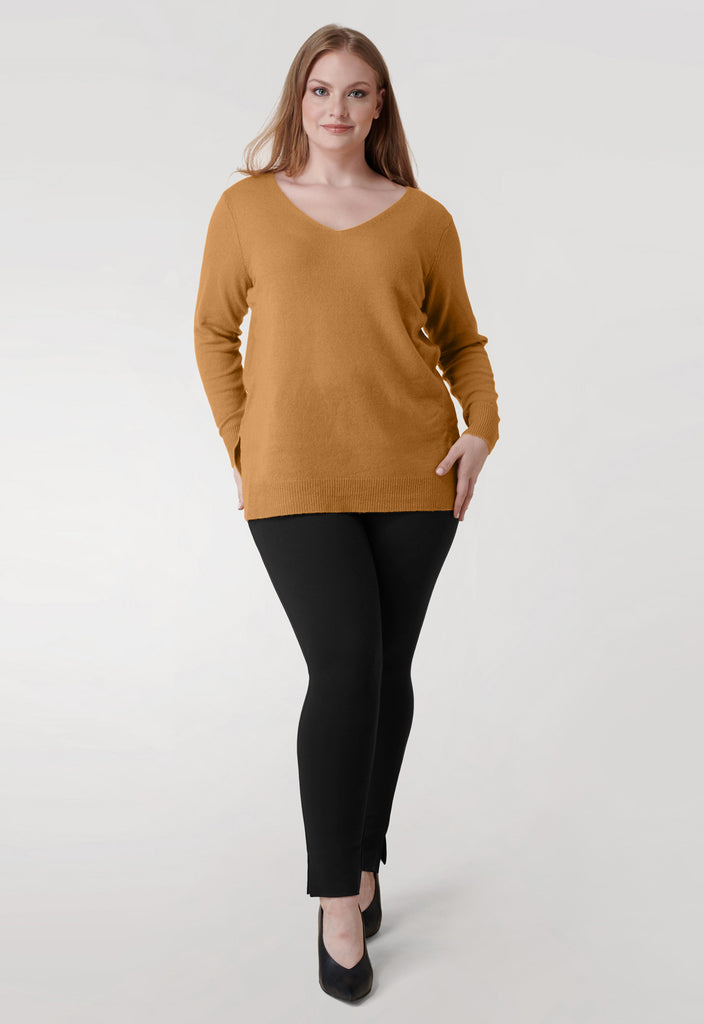 The Camel V Neck Cashmere Blend Sweater