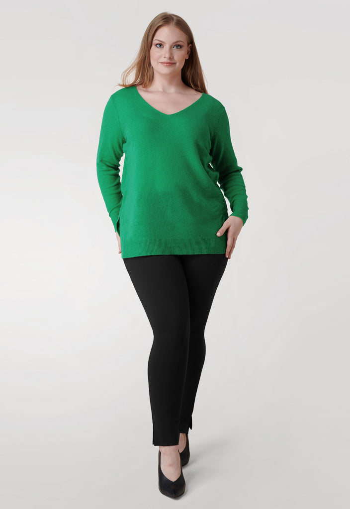 The Kelly Green V Neck Cashmere Blend Sweater