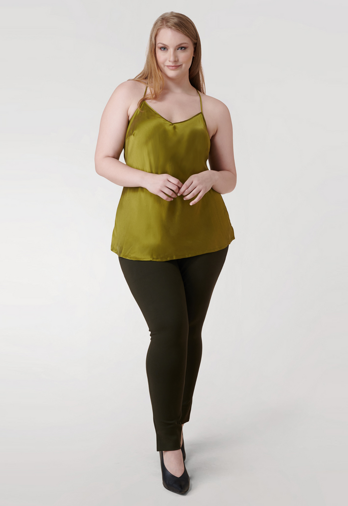 Green Washed Silk Charmeuse Tank