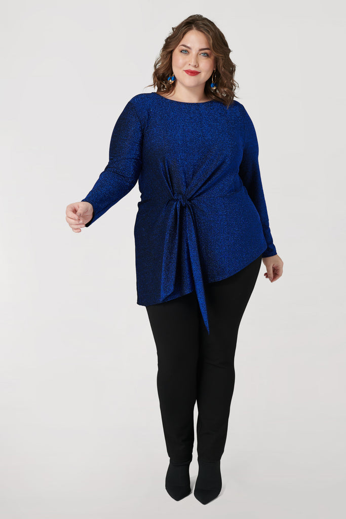 Shimmer Asymmetrical Top with Front Tie - **30% off with discount code Winter30**