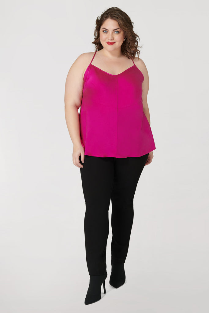 Fuchsia Washed Silk Charmeuse Tank