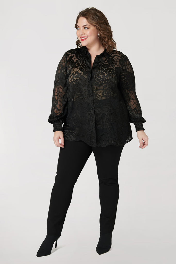 Black Silk Charmeuse Burnout Blouse