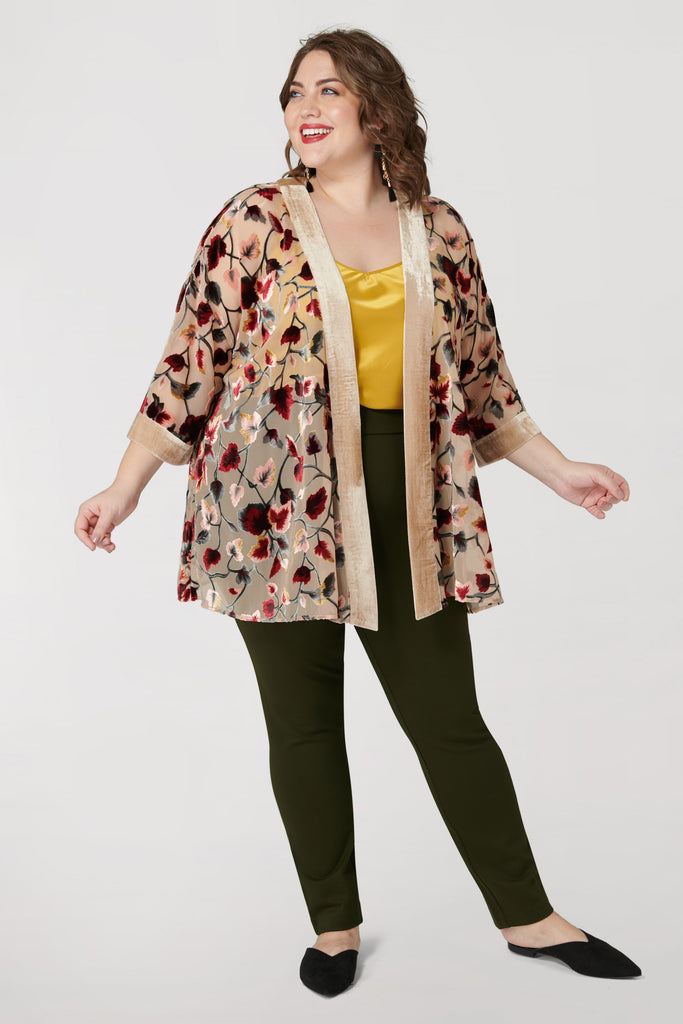 Burnout Kimono with Velvet Trim - **30% off with discount code Winter30**