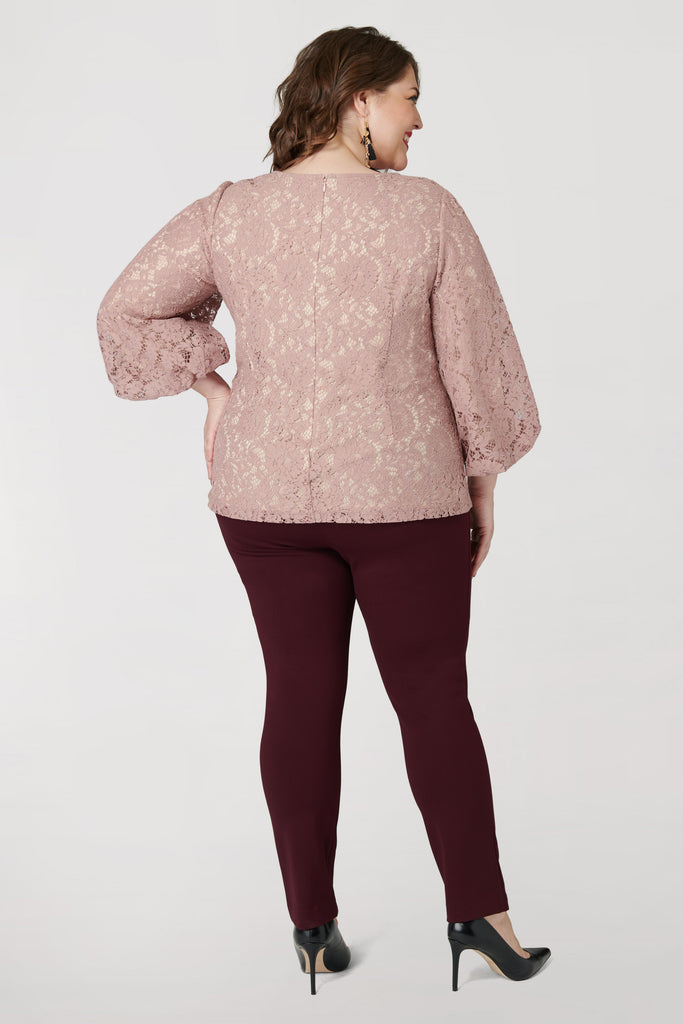 Blush Lace Bubble Sleeve Top - **30% off with discount code Winter30**