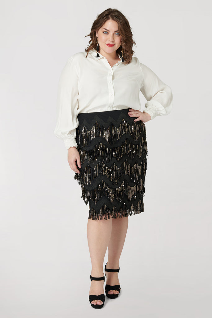 Tassel Pencil Skirt