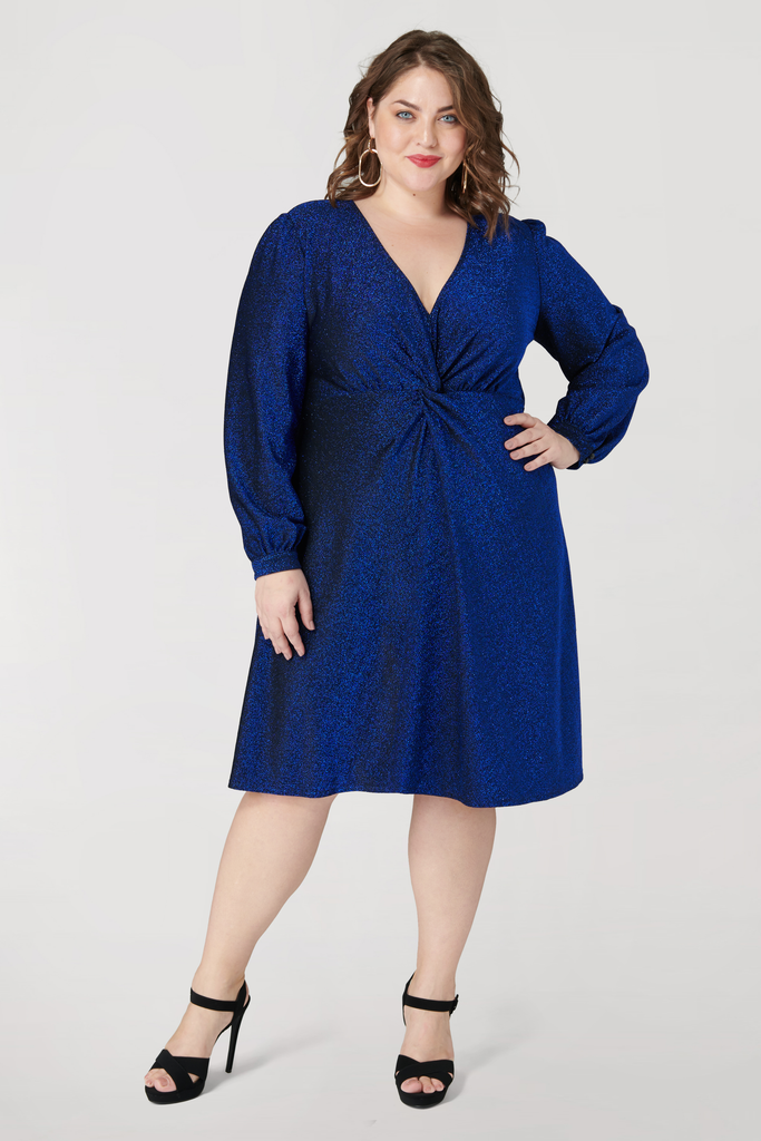 Shimmer Front Knot Long Sleeve Dress - **30% off with discount code Winter30**