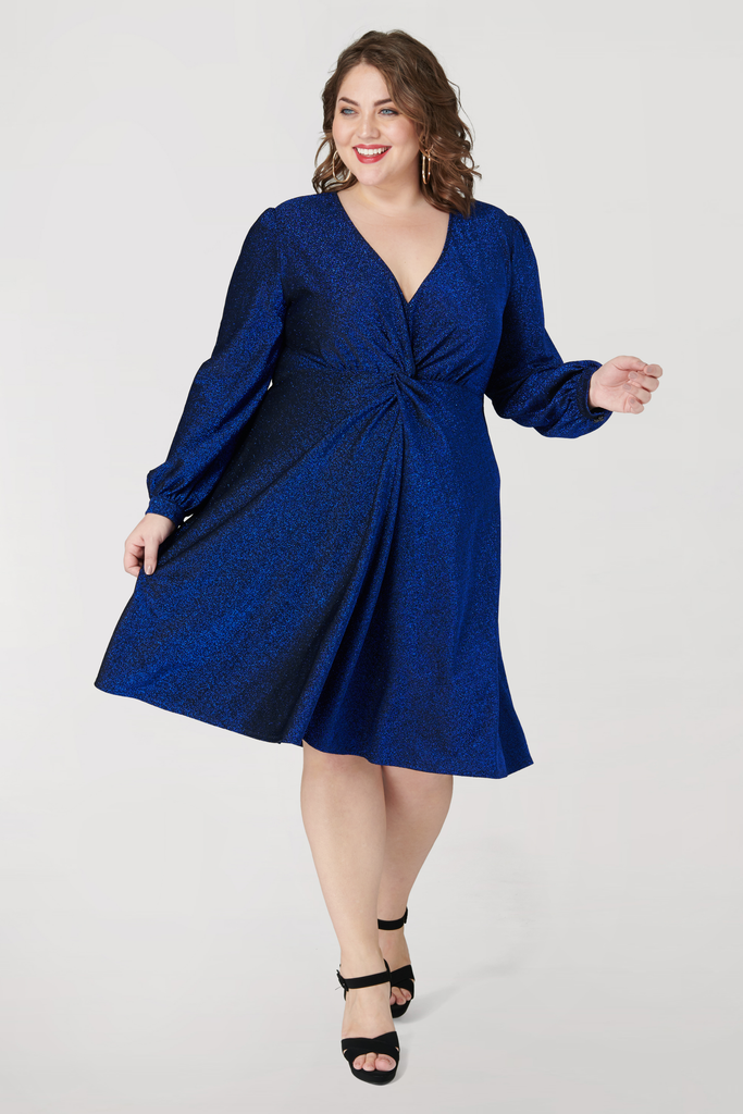 Shimmer Front Knot Long Sleeve Dress