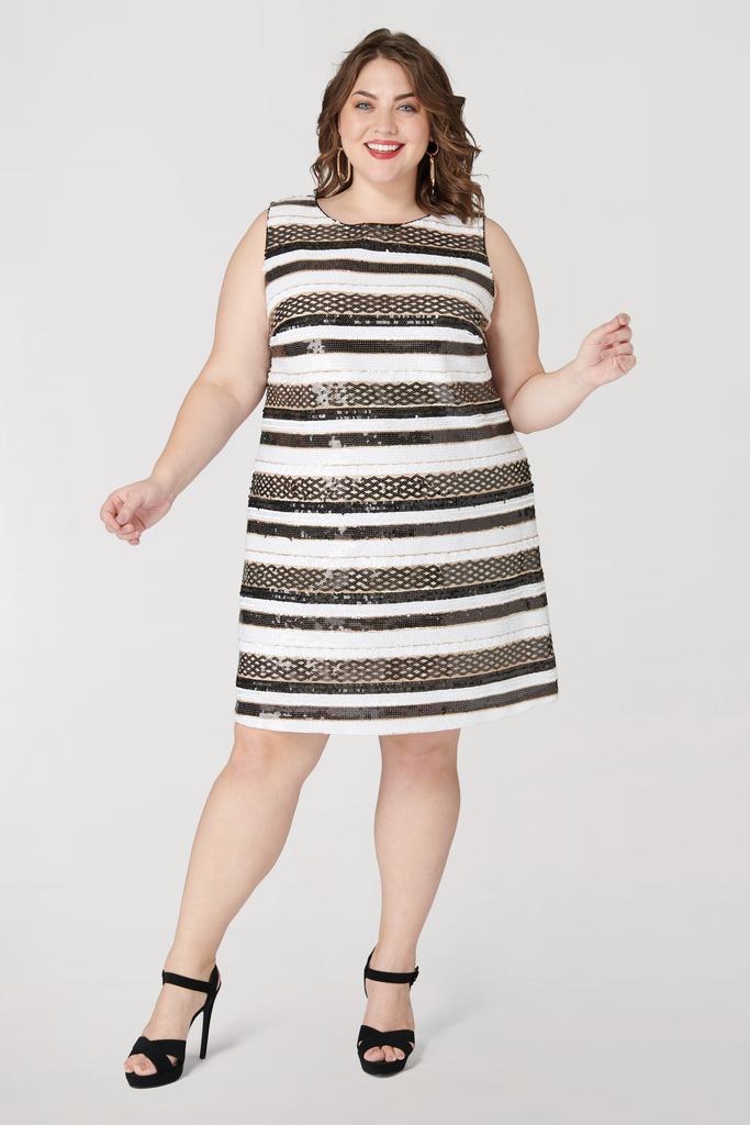 Sequin Stripe Sleeveless Dress