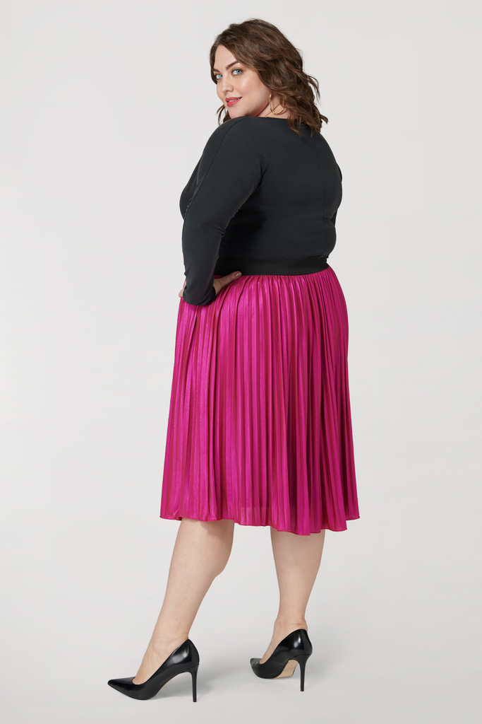 The Pink Metallic Pleated Skirt