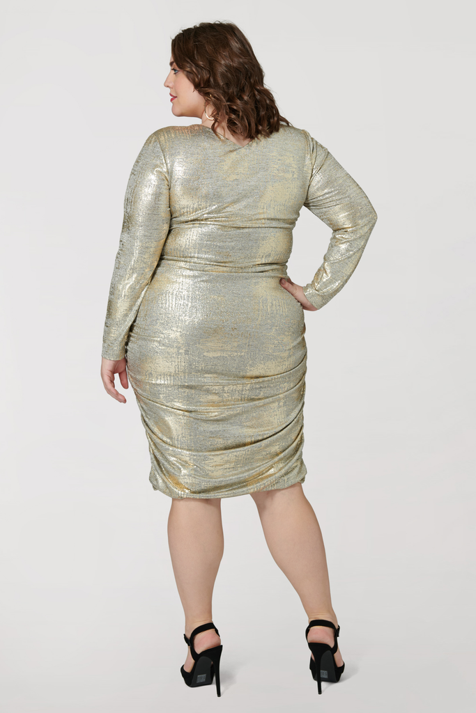 Metallic Ruched Jersey Midi - **50% off with discount code Winter50**