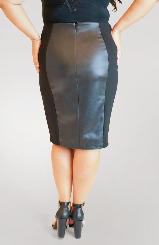 Faux Leather Skirt with Slit