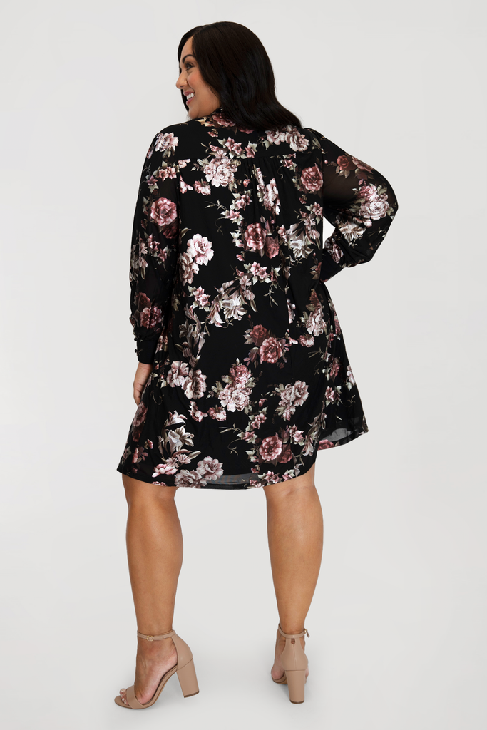Black Floral Print Trapeze Dress