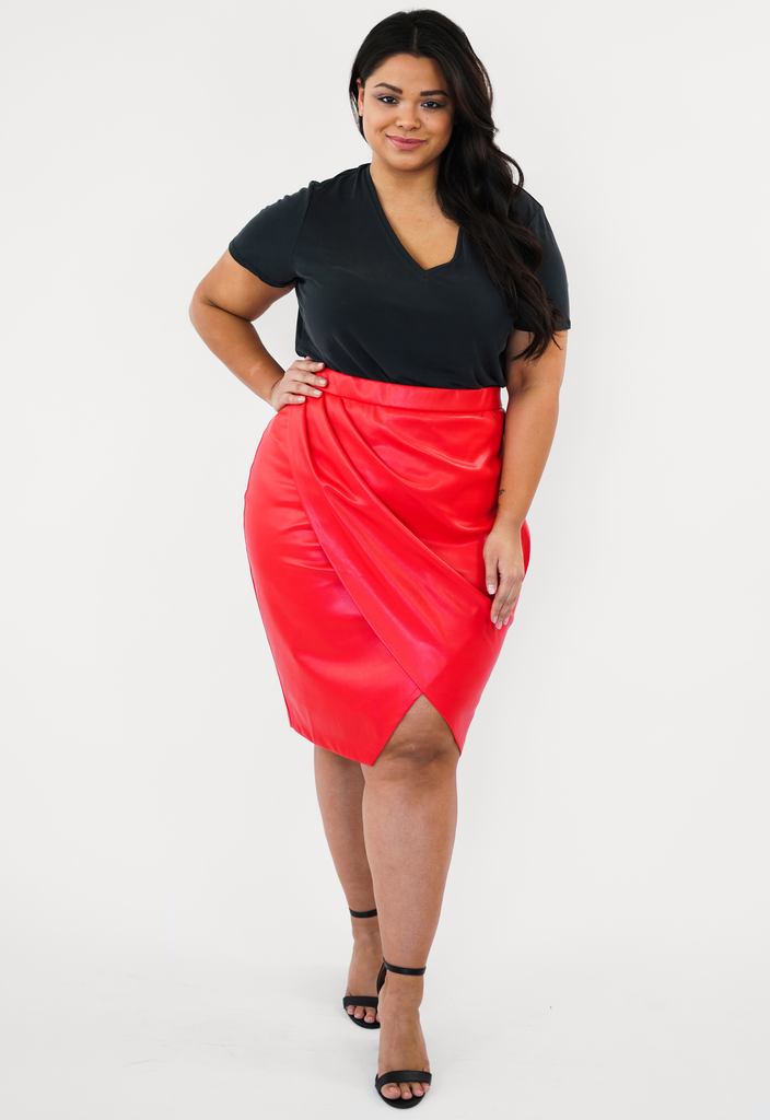 Red Pleather Pleated Skirt