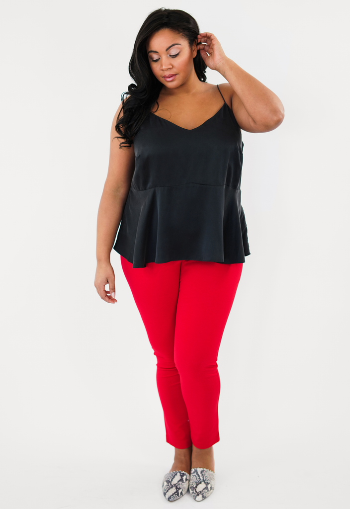 Black Peplum Washed Silk Tank