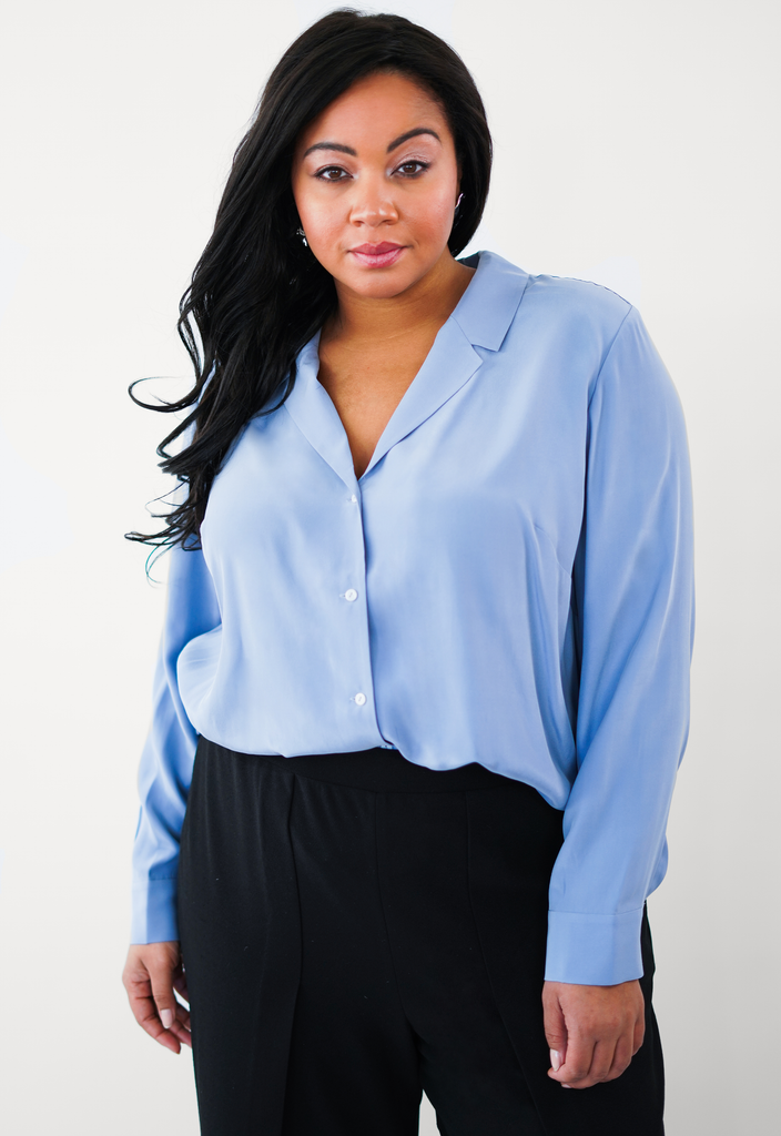 Blue Button Front Notched Collar Blouse