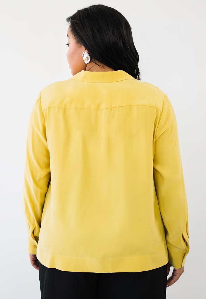 Mustard Button Front Notched Collar Blouse
