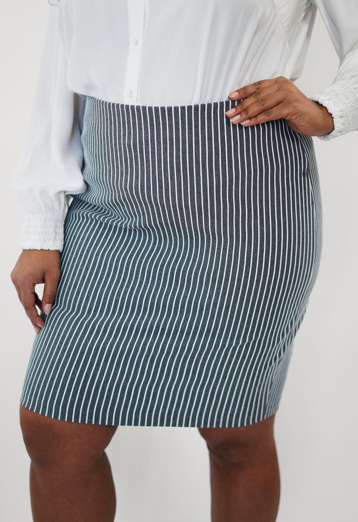 Grey and White Textured Stripe Skirt