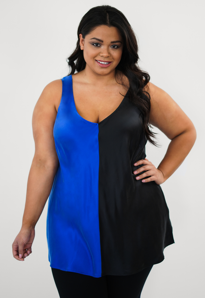 Navy/Black Color Blocked Silk Tank