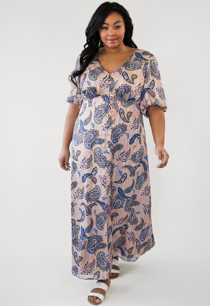 Tan Split Front Peasant Maxi