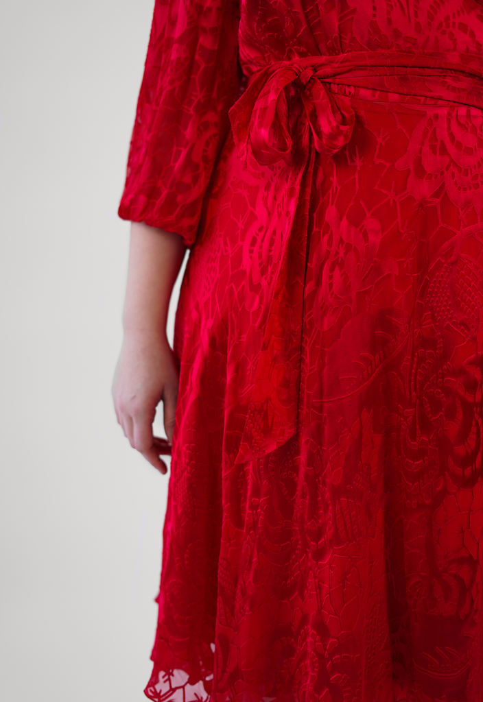 Red Silk Burnout Wrap Dress