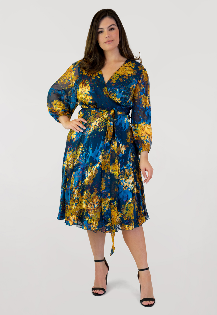 Floral Burnout Wrap Dress