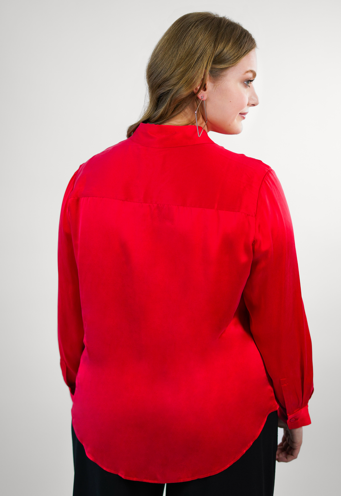 Red Washed Silk Charmeuse Blouse