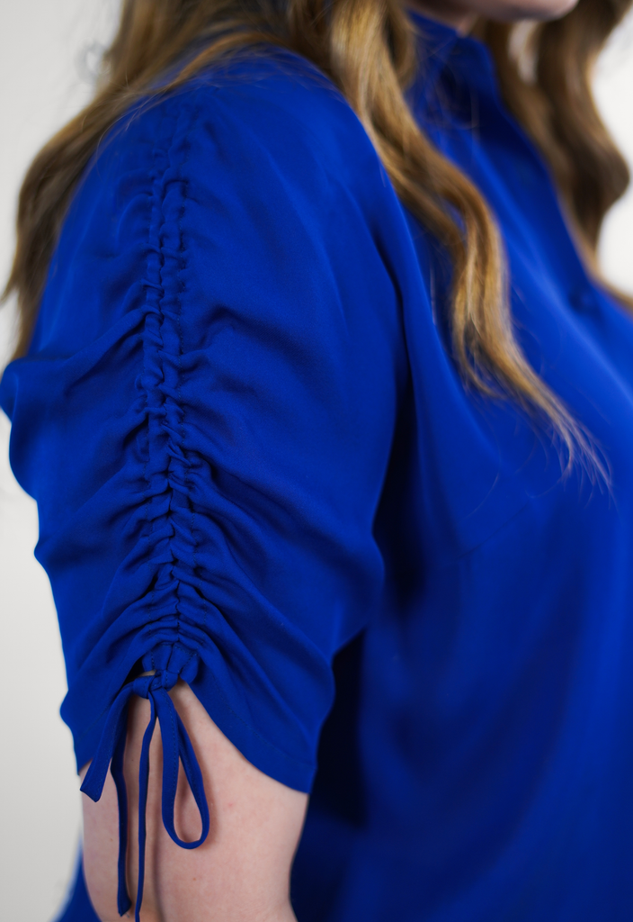 Blue Ruched Sleeve Silk Georgette Blouse