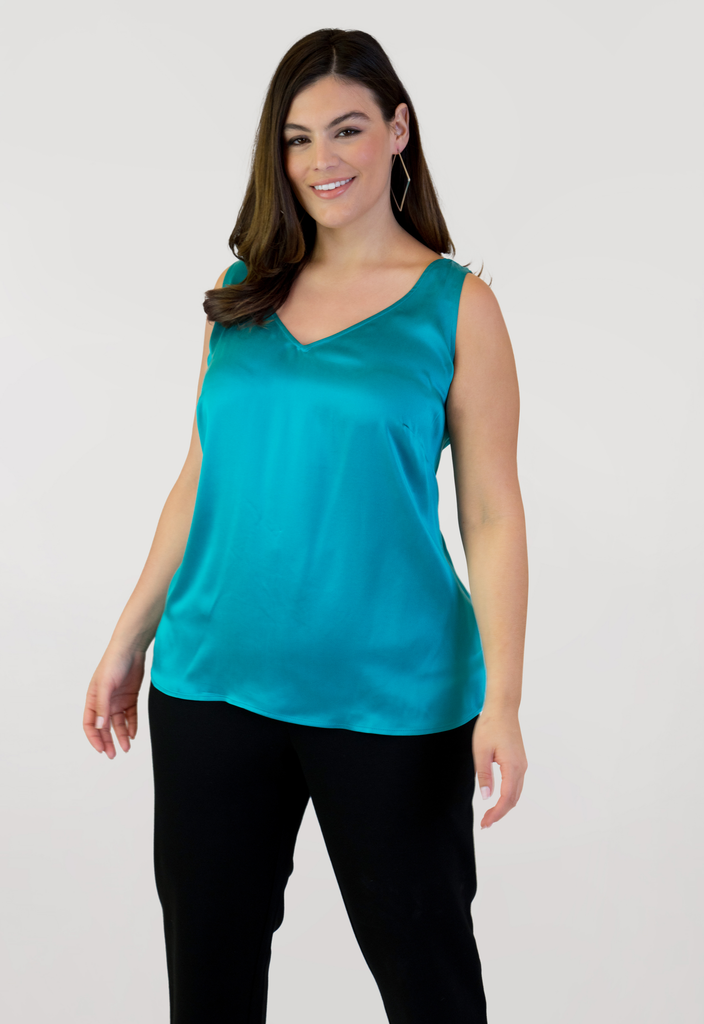 Teal Double V Neck Tank