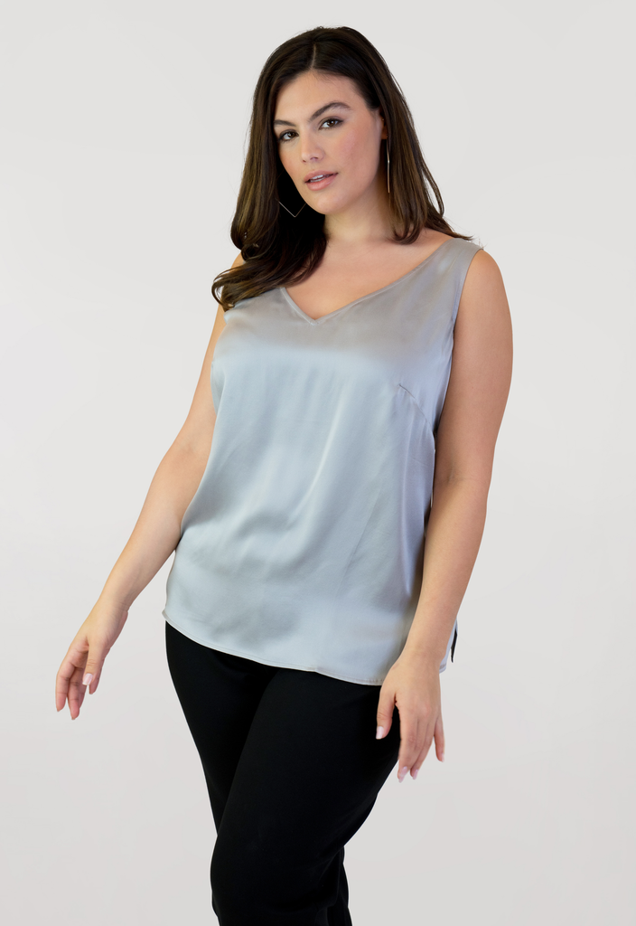 Grey Double V Neck Tank
