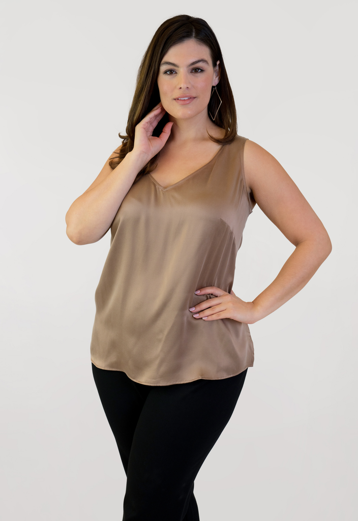 Tan Double V Neck Tank