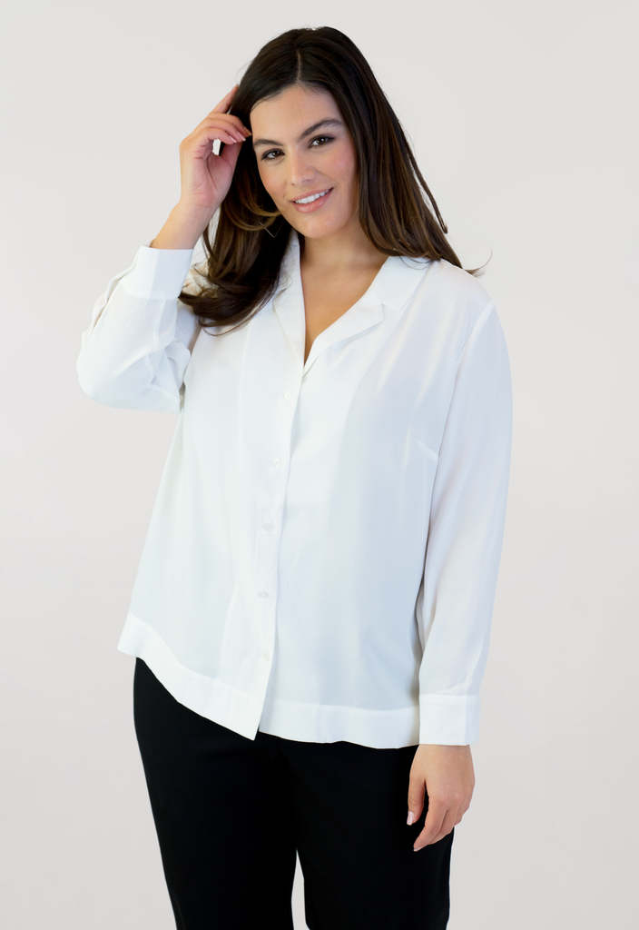 Ivory Notched Collar Top