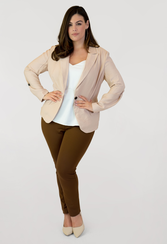 Notch-Collar Single-Button Blazer