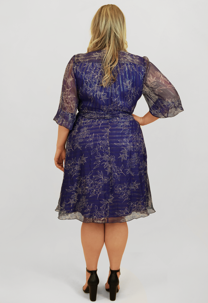 Cobalt Silk Lurex Wrap Dress