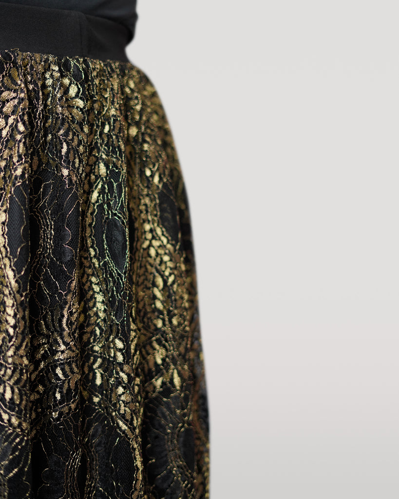 Black and Gold Lace Midi Skirt