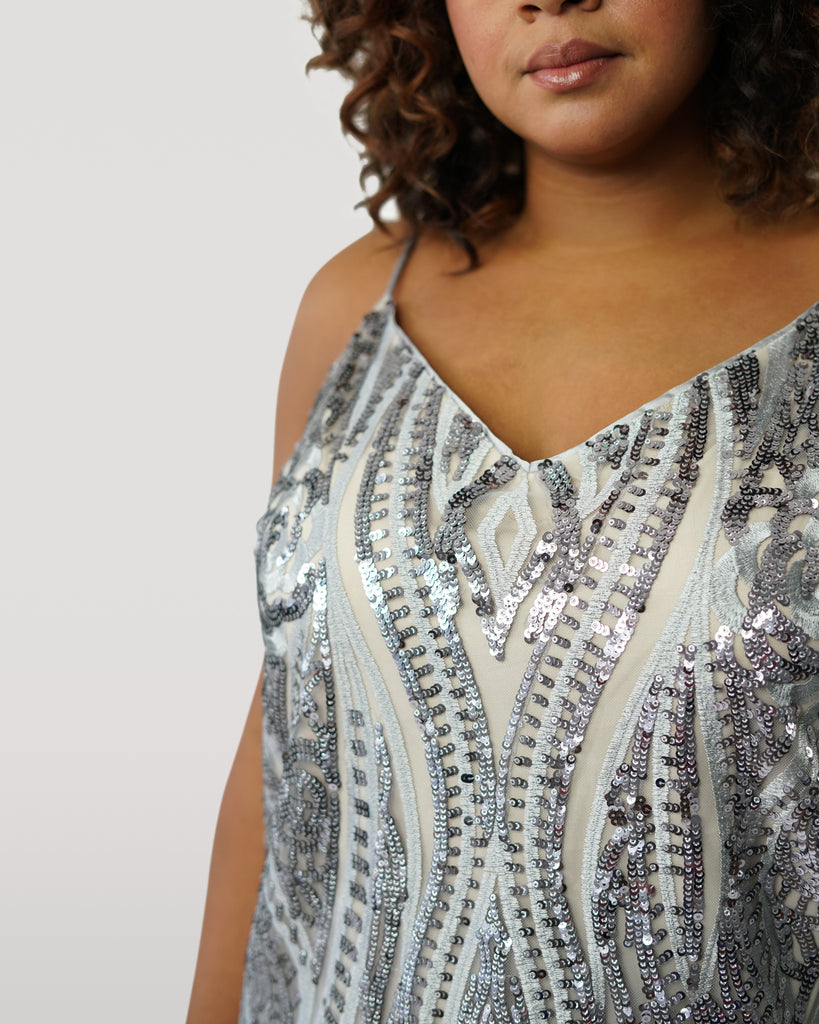 V Neck Sequin Tank
