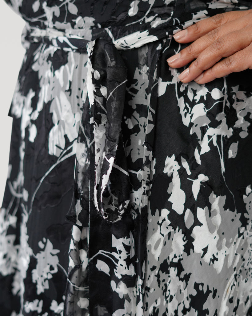 Graphic Floral Silk Burnout Wrap Dress