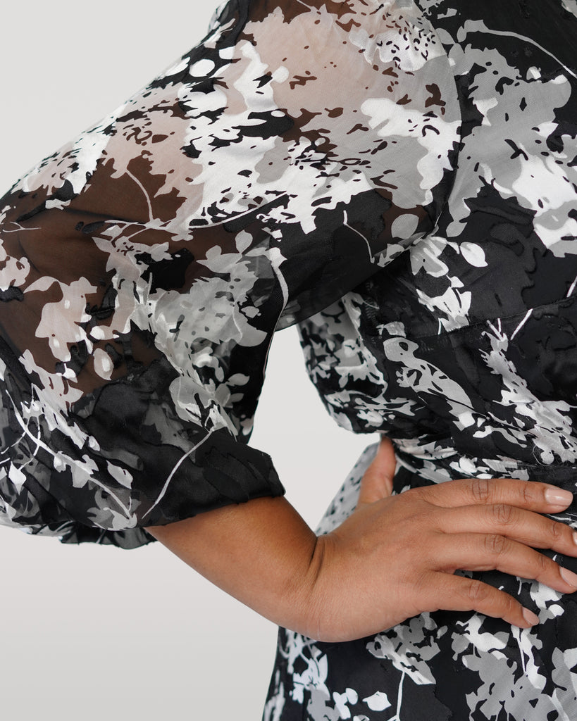 Graphic Floral Silk Burnout Wrap Dress - **20% off with discount code Winter20**