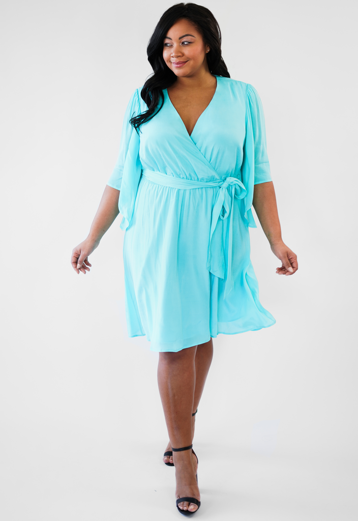 Turquoise Faux Wrap Dress