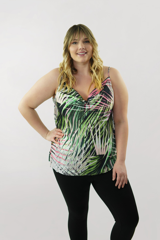 Tropical Drape Neck Tank