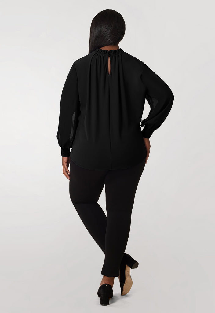 Black Crepe Knit / Chiffon Sleeve Blouse - **Additional 30% off with discount code Winter30**